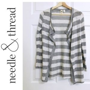 Needle&Thread Striped Open Front Cardigan sweater